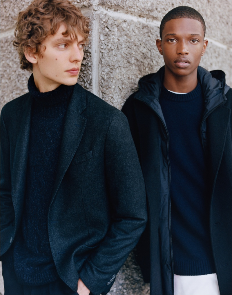 Leon Dame and Malik Anderson are the faces of Massimo Dutti's fall-winter 2021 men's Limited Edition collection.