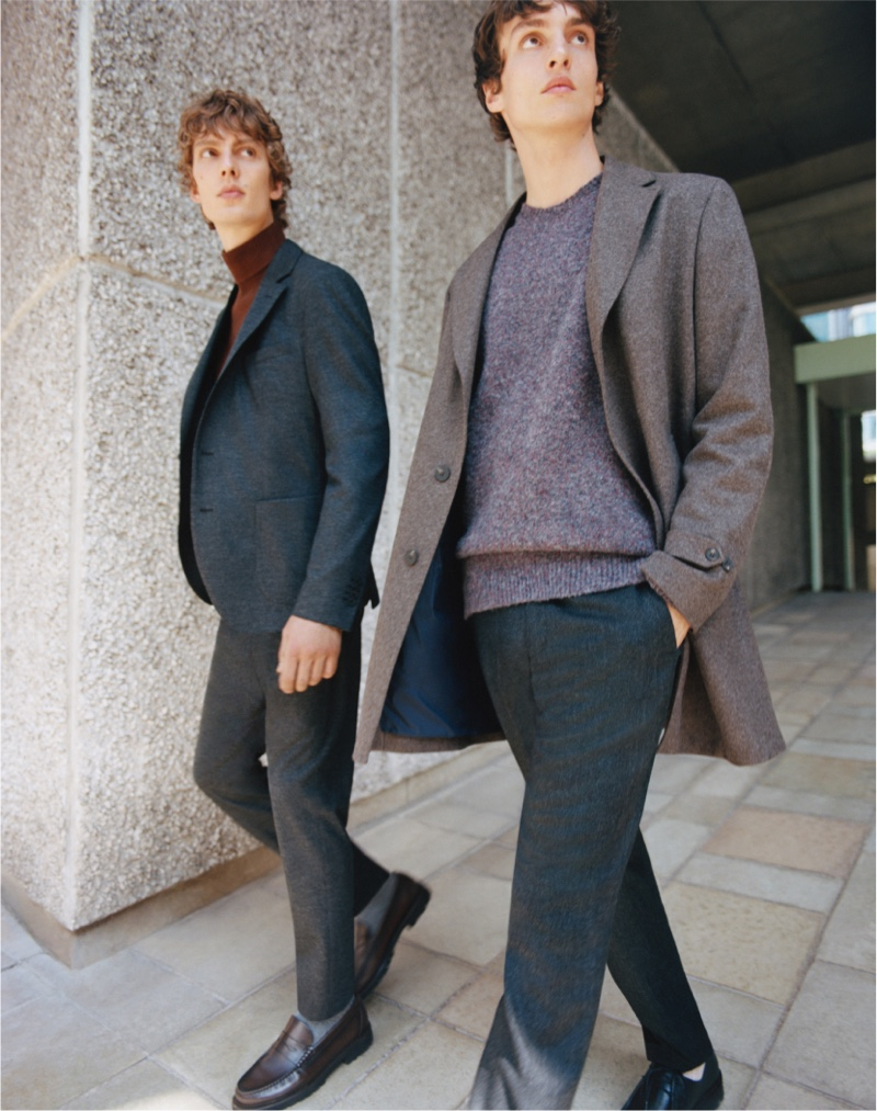 On a the move, Leon Dame and Lucas El Bali wear tailoring from Massimo Dutti's fall-winter 2021 Limited Edition collection.