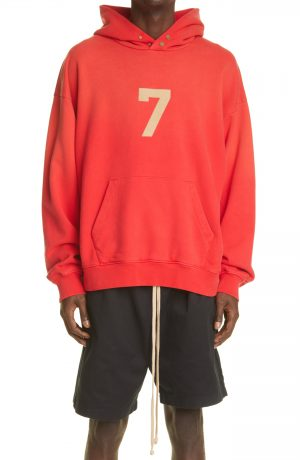 Men's Fear Of God 7 Cotton Hoodie, Size Large - Red