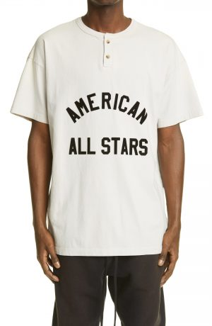Men's Fear Of God American All Stars Henley, Size Small - Ivory