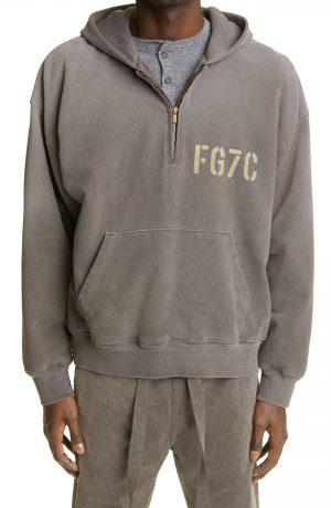 Men's Fear Of God Logo Quarter Zip Cotton Hoodie, Size Small - Grey (Nordstrom Exclusive)