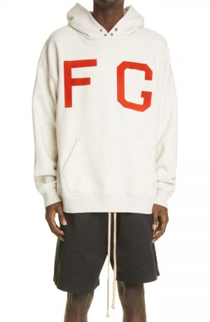 Men's Fear Of God Monarch Logo Cotton Hoodie, Size Small - White