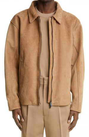 Men's Fear Of God Nubuck Leather Jacket, Size Small - Brown (Nordstrom Exclusive)