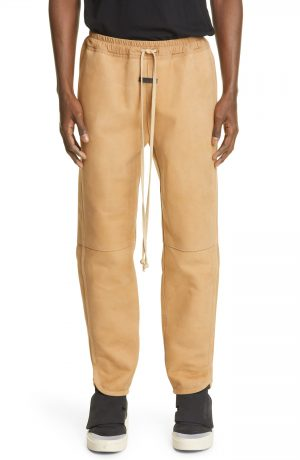 Men's Fear Of God Nubuck Leather Track Pants, Size Medium - Brown (Nordstrom Exclusive)