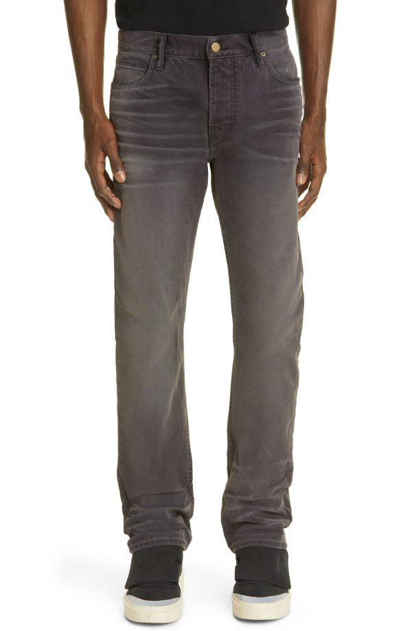 Men's Fear Of God Slim Straight Leg Canvas Jeans, Size 30 - Black