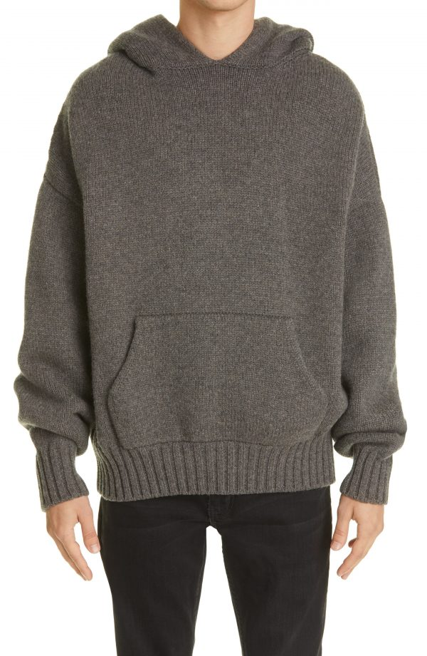Men's Fear Of God Wool Sweater Hoodie, Size Small - Grey