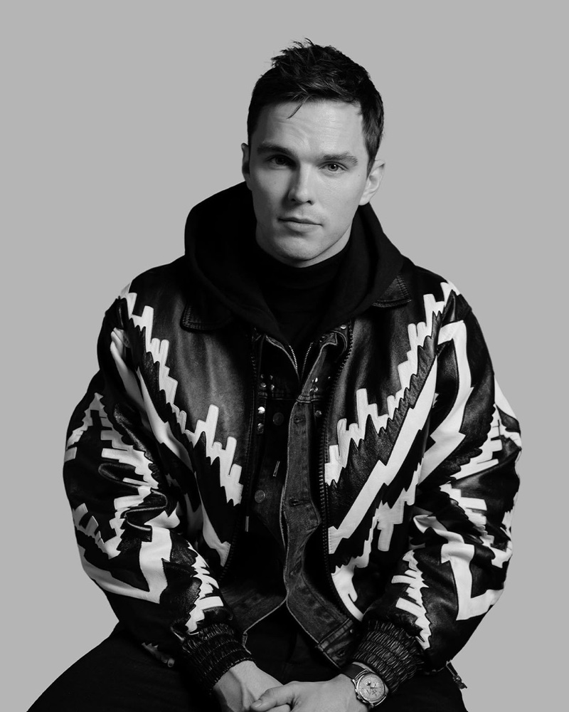 Front and center, Nicholas Hoult wears Jaeger LeCoultre's Master Control Chronograph Calendar watch.