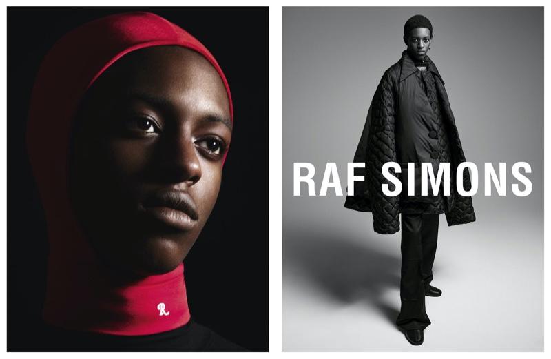 Craig Shimirimana fronts Raf Simons' fall-winter 2021 campaign.