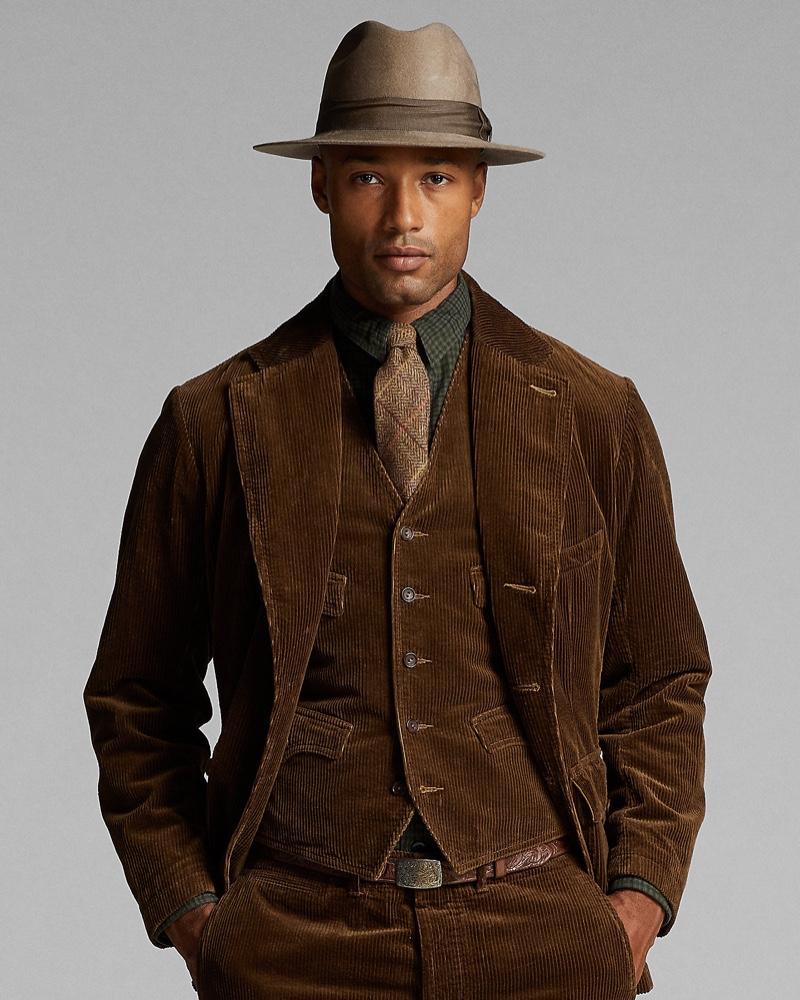 Michael Ayeboua models a Ralph Lauren Double RL corduroy sport coat, vest, and pants.