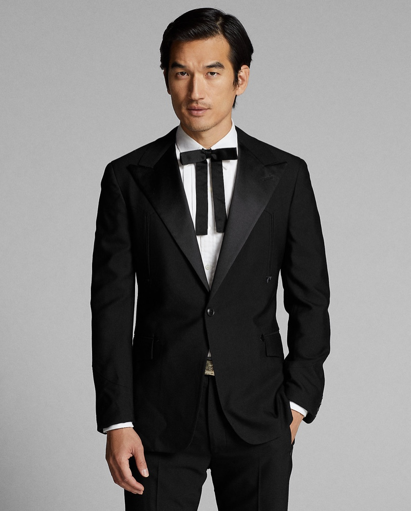 Making a case for formal style, Tony Chung wears Ralph Lauren Double RL's western tuxedo jacket.