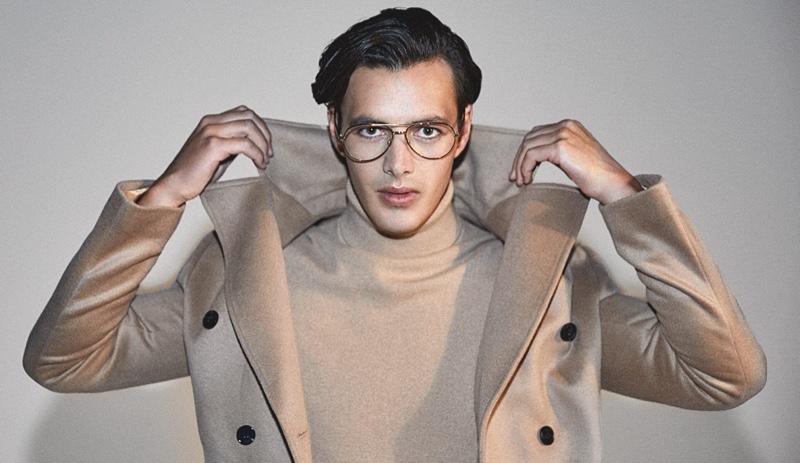 Harry Gozzett wears Reiss' Giovanni coat with its Regal turtleneck.