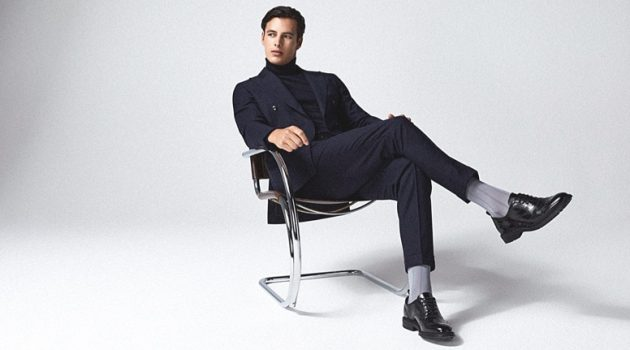 Dressed to impress, Harry Gozzett rocks Reiss' Nether suit with a Cain turtleneck.
