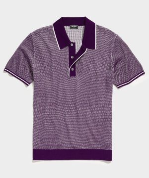 Seed Stitch Tipped Short Sleeve Sweater Polo in Plum