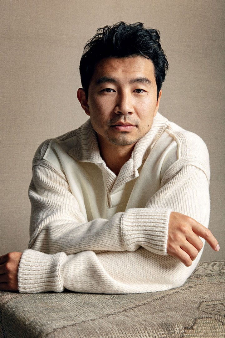 In front and center, Simu Liu sports a polo sweater by Zegna for Esquire Singapore.