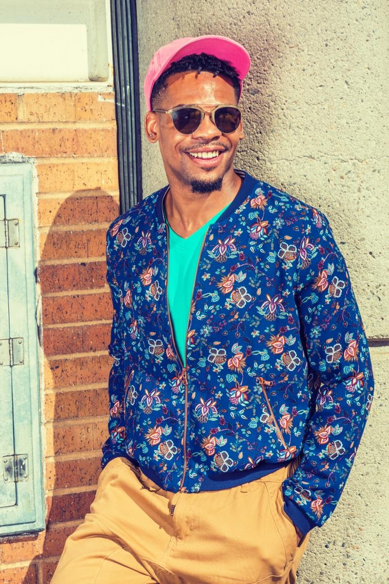 Smiling Black Man Floral Print Jacket Hat Casual