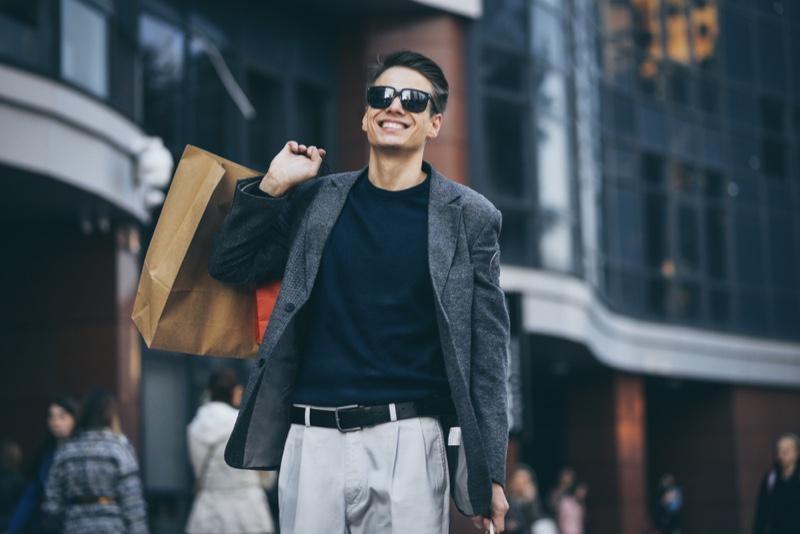 Smiling Man Shopping Bag Street Casual Look
