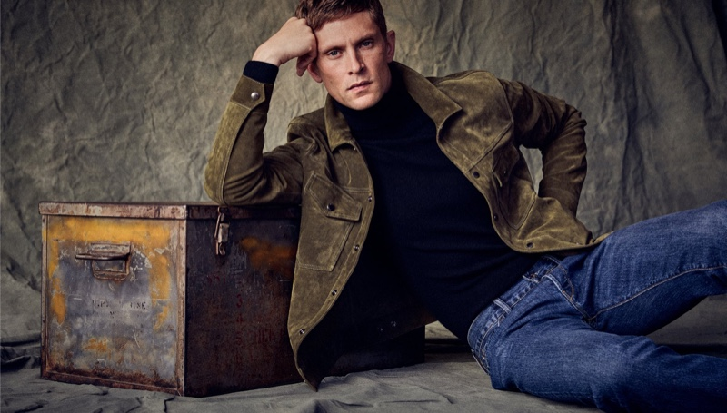 A chic vision, Mathias Lauridsen models Todd Snyder's suede Dylan jacket with a pair of blue jeans.