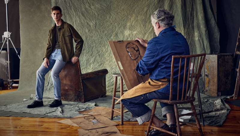 Sitting for a drawing, Mathias Lauridsen models Todd Snyder's popular military overshirt.