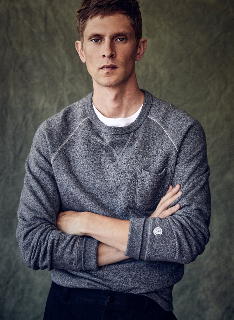 Showcasing Todd Snyder's sporty side, Mathias Lauridsen wears the designer's pocket sweatshirt from his ongoing Champion collaboration.