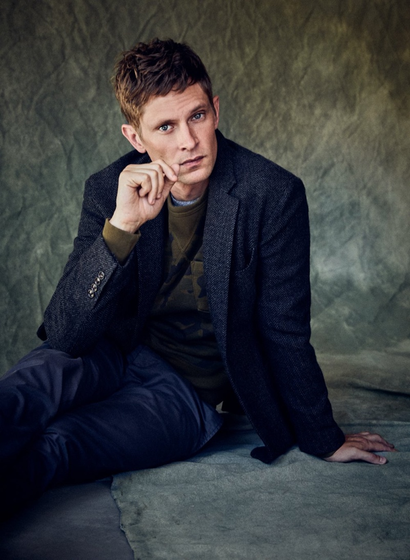 Embracing a touch of sartorial style, Mathias Lauridsen dons a soft-shouldered tweed blazer by Todd Snyder.