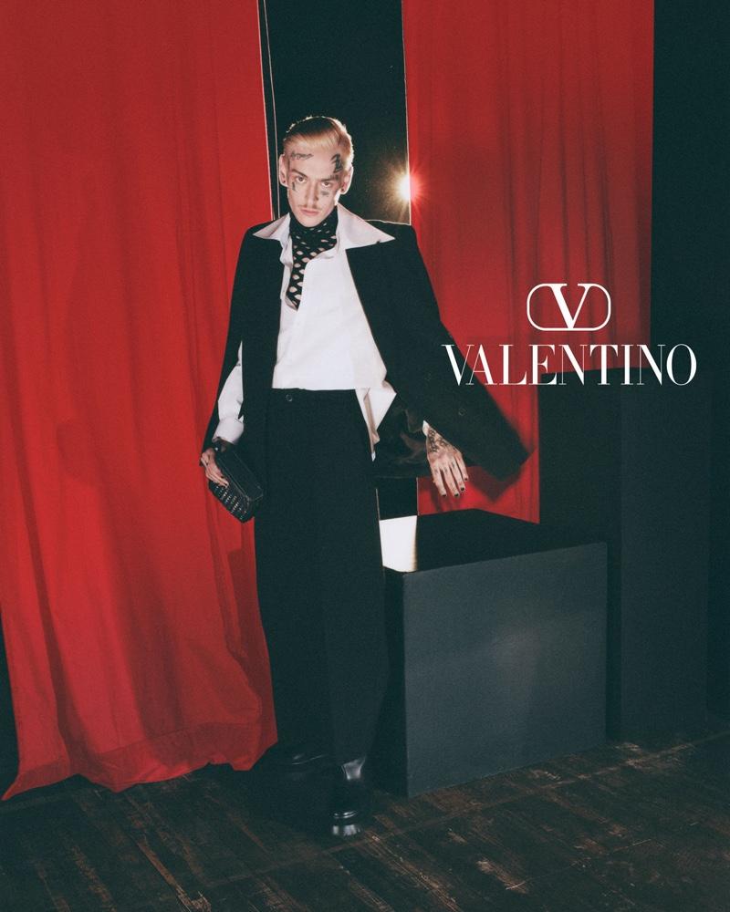 Teddy Corsica fronts Valentino's fall-winter 2021 men's campaign.
