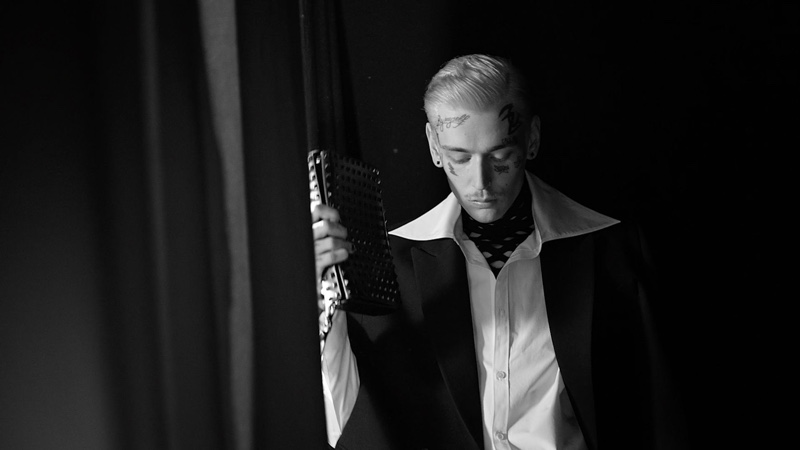 A video still from Valentino's fall-winter 2021 men's campaign video featuring Teddy Corsica.