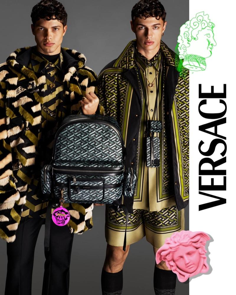 Nacho Penín and Ondrej Mokoš come together as the stars of Versace's fall 2021 men's campaign.