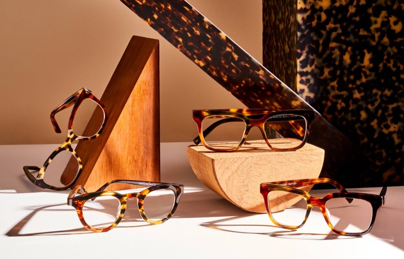 Pictured left to right: Warby Parker eyewear; Tatum in Tortoise Collage III, Gaines in Tortoise Collage II, Winston (in wide) in Tortoise Collage I, and Winston (in medium) in Tortoise Collage I.