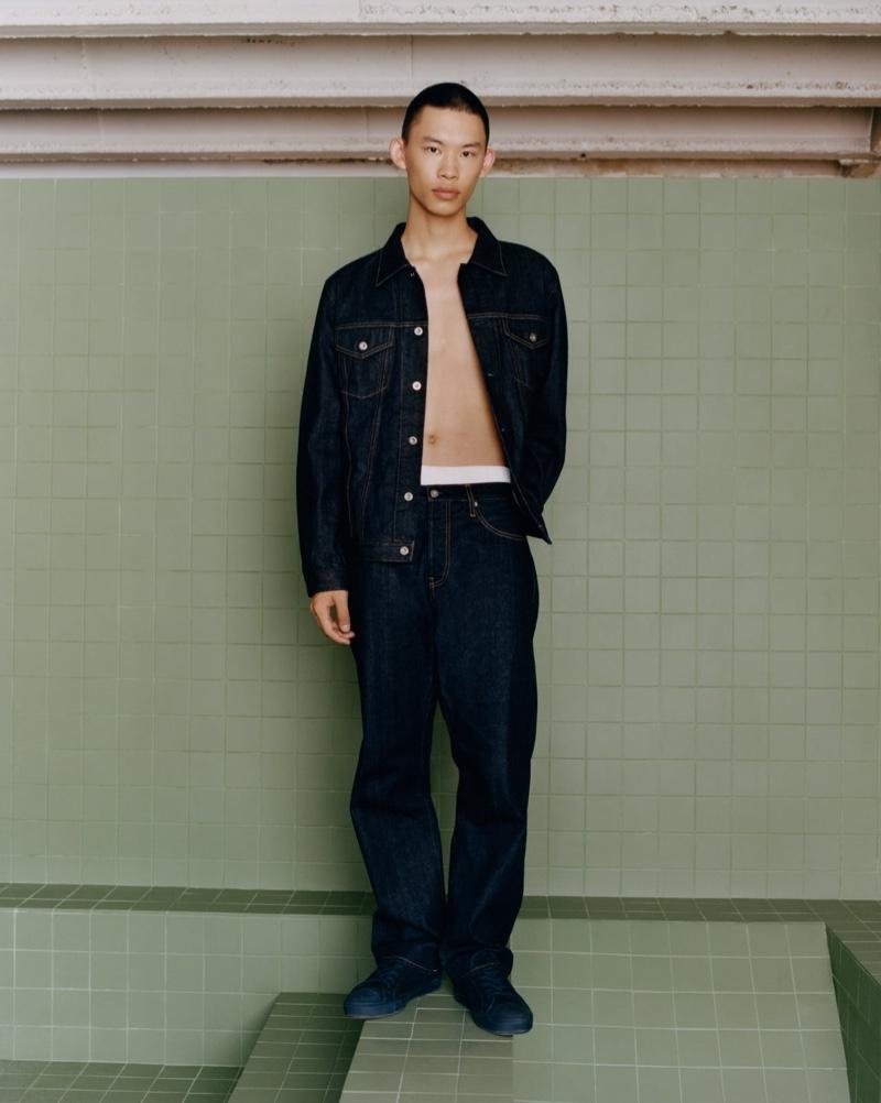 Yura Nakano sports double denim from Zara's fall 2021 Origins collection.
