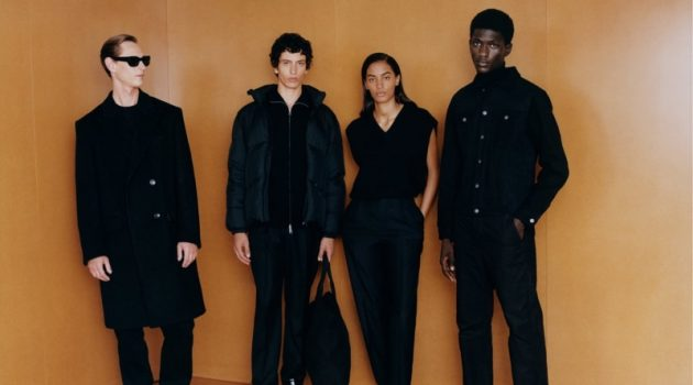 Models Rogier Bosschaart, Takfarines Bengana, Sacha Quenby, and Moustapha Sy model black looks from Zara's fall 2021 Origins collection.