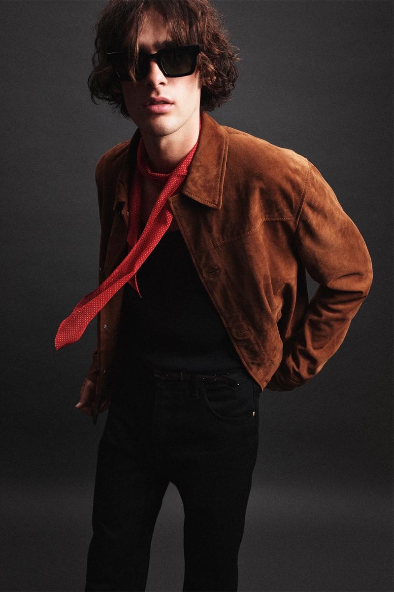 Model Marijn Aper steals the scene in a suede jacket from Zara Man's Rock collection.
