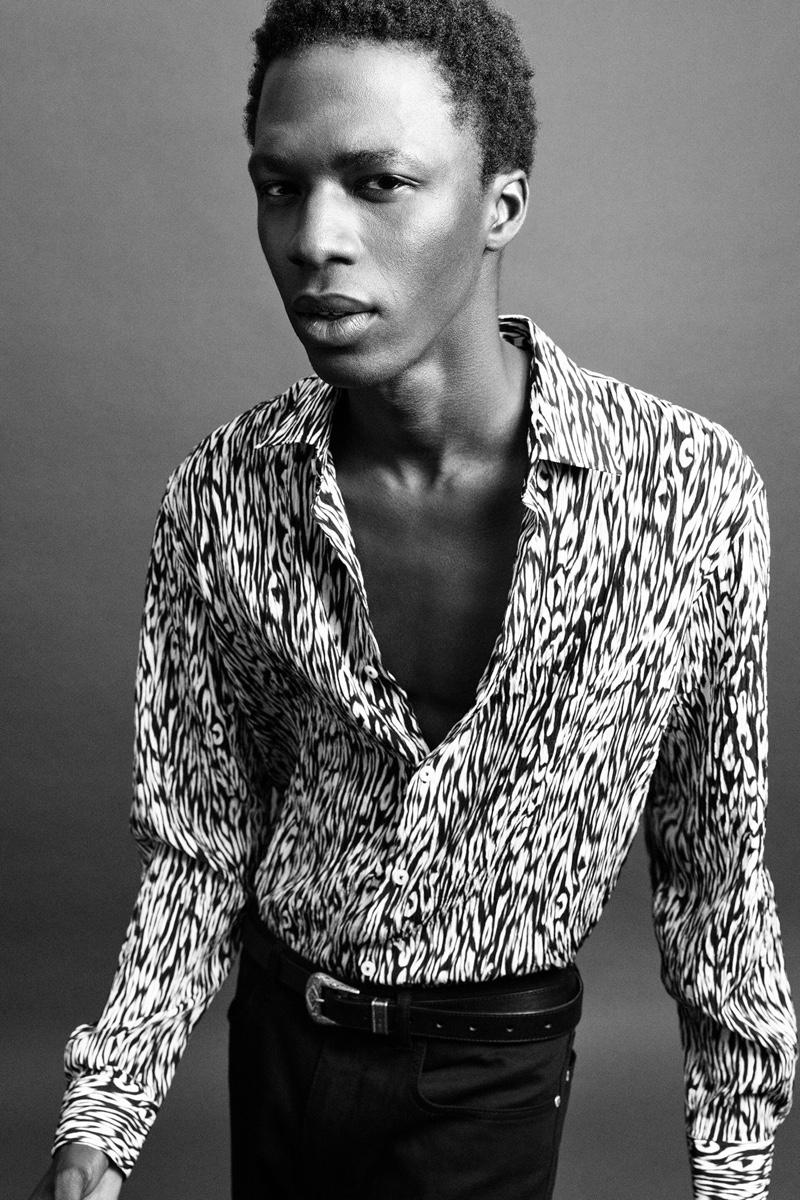 Channeling his inner rocker, Cherif wears an animal print shirt from Zara Man's Rock collection.