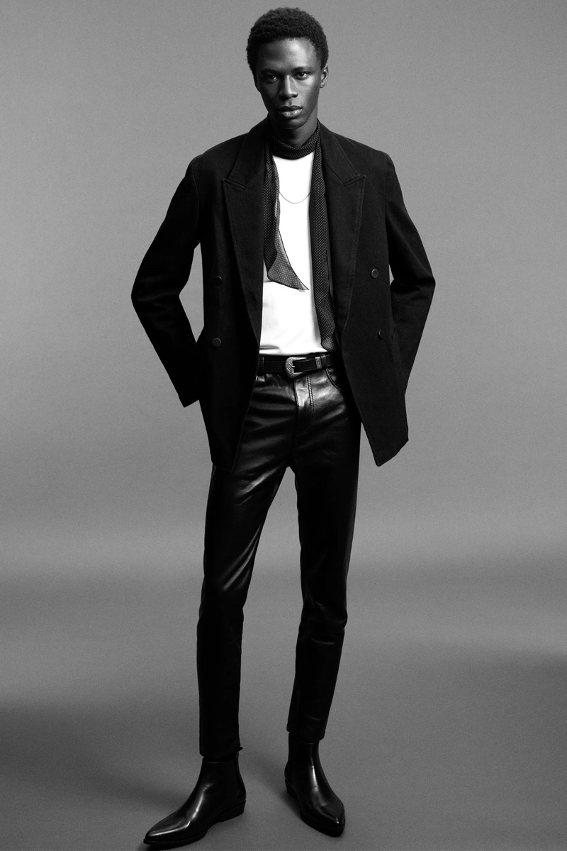 Cherif wears faux leather pants with a double-breasted blazer and t-shirt from Zara Man's Rock collection.