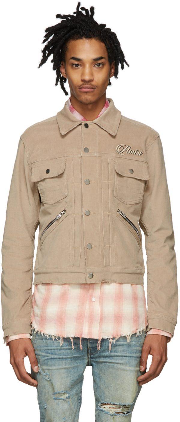 AMIRI Beige Corduroy Embroidered Jacket