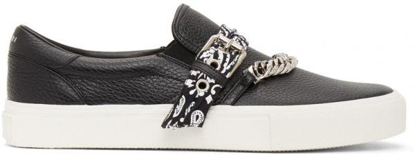 AMIRI Black Bandana Chain Slip-On Sneakers