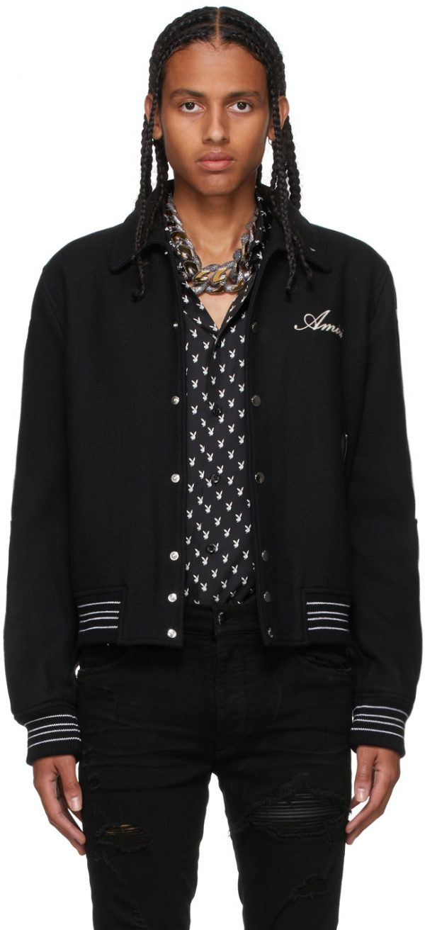 AMIRI Black Bones Varsity Bomber Jacket