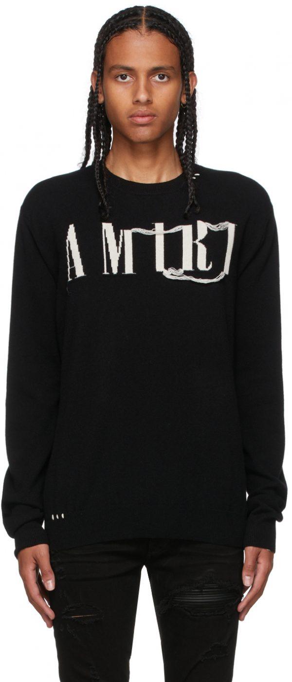 AMIRI Black Cashmere Logo Sweater