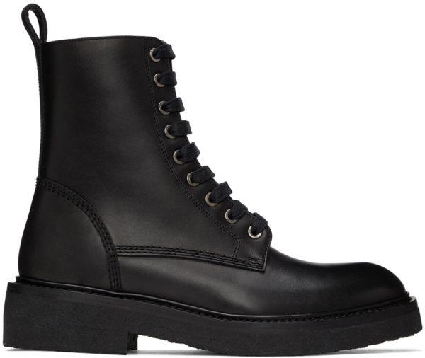 AMIRI Black Crepe Sole Combat Boots