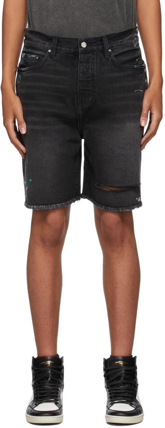 AMIRI Black Denim Painter Bermuda Shorts