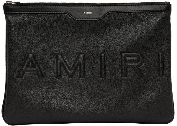AMIRI Black Embossed Logo Pouch