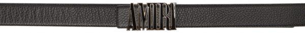 AMIRI Black Enamel Logo Buckle Belt