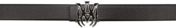 AMIRI Black Enamel 'M.A.' Buckle Belt