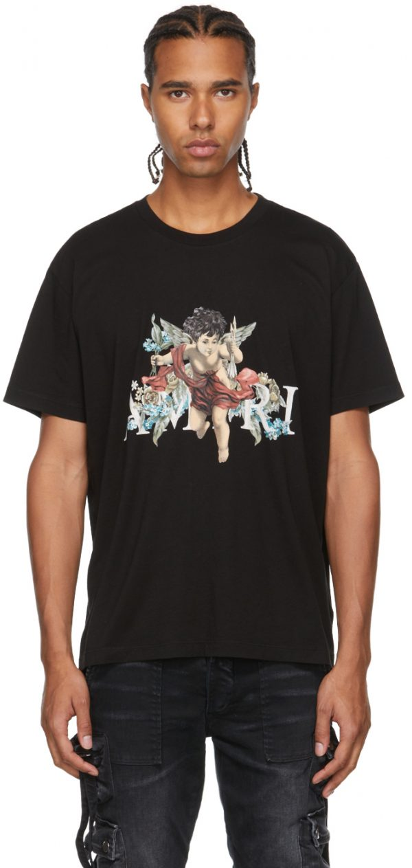 AMIRI Black Graphic Cherub T-Shirt