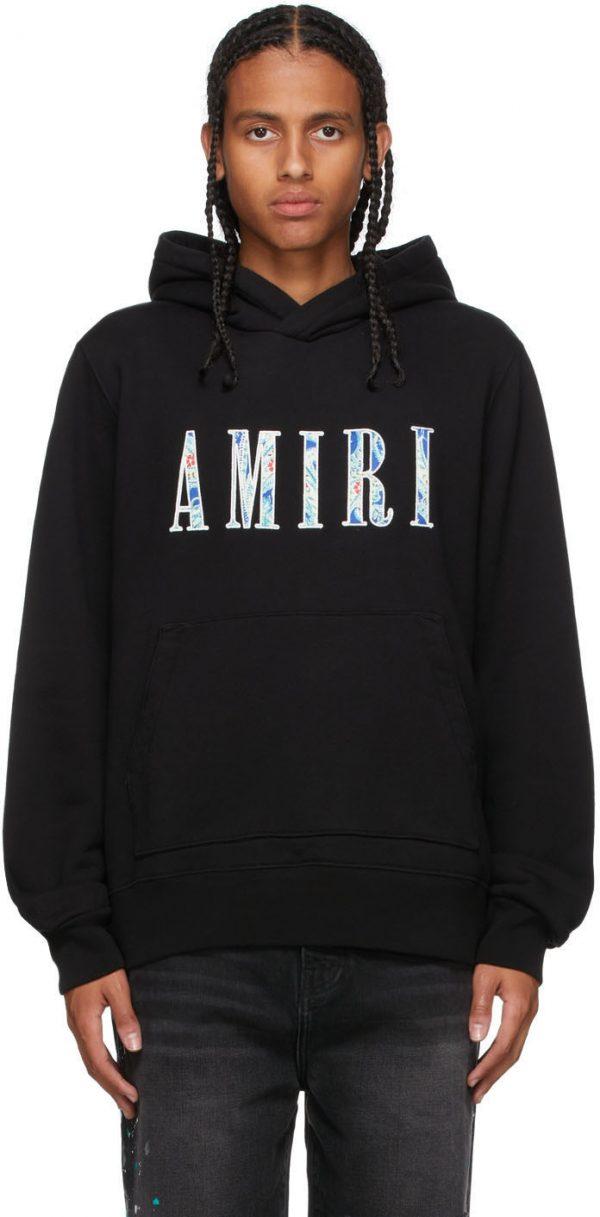 AMIRI Black Paisley Core Logo Hoodie
