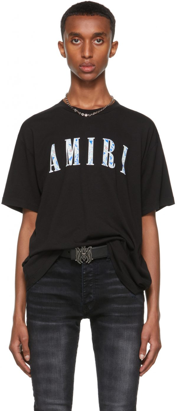 AMIRI Black Paisley Core Logo T-Shirt