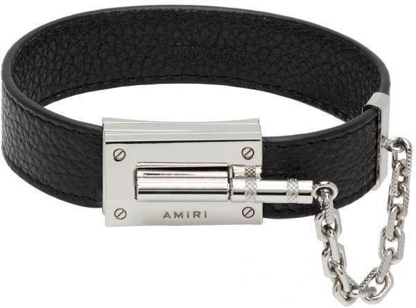 AMIRI Black Pebbled Jax Bracelet