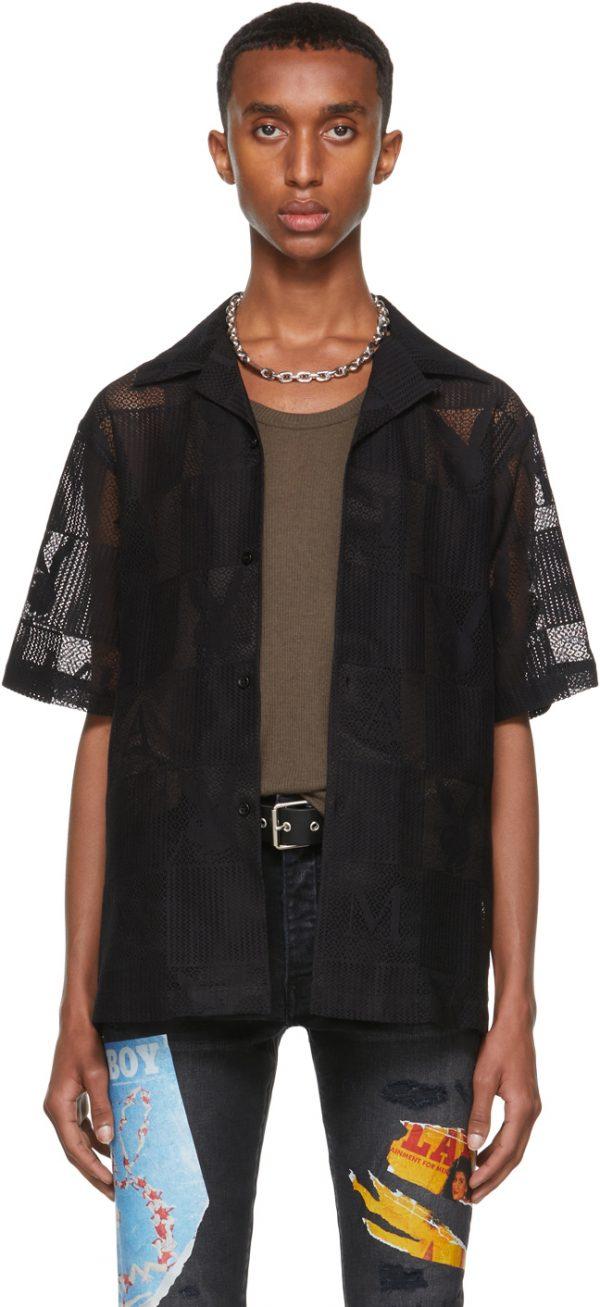 AMIRI Black Playboy Edition Checkered Short Sleeve Shirt