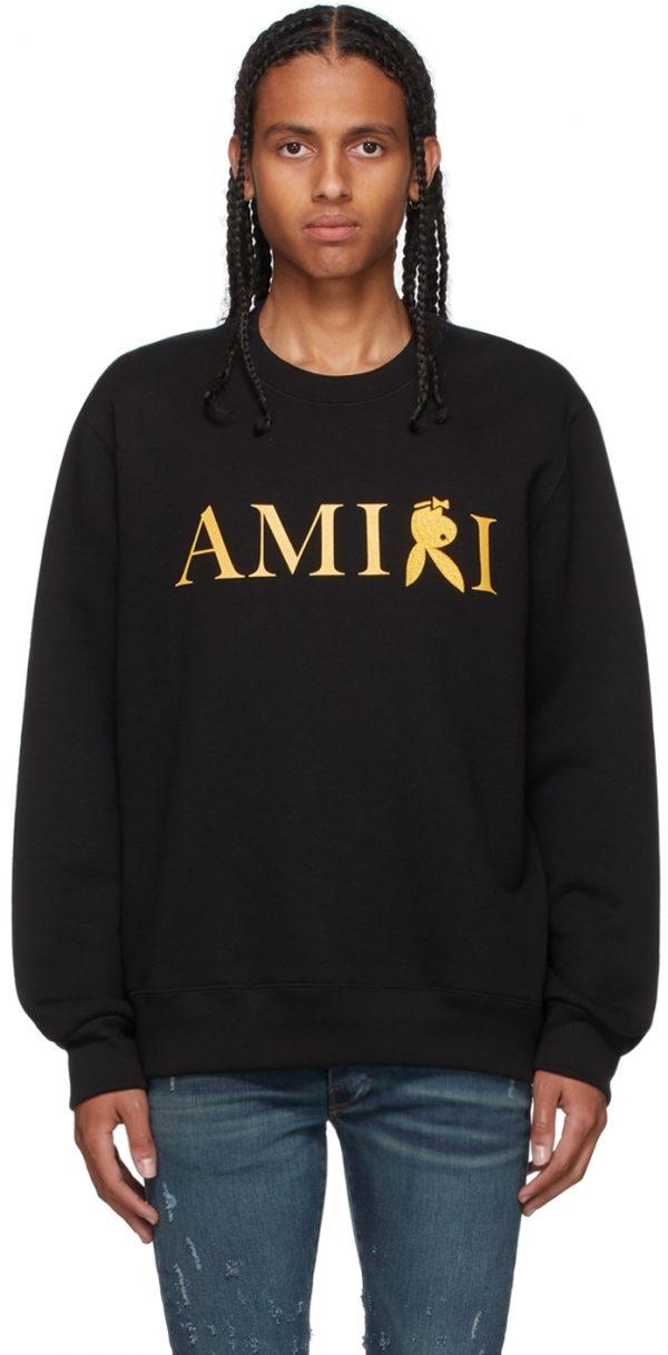 AMIRI Black & Gold Playboy Edition Reverse Bunny Sweatshirt