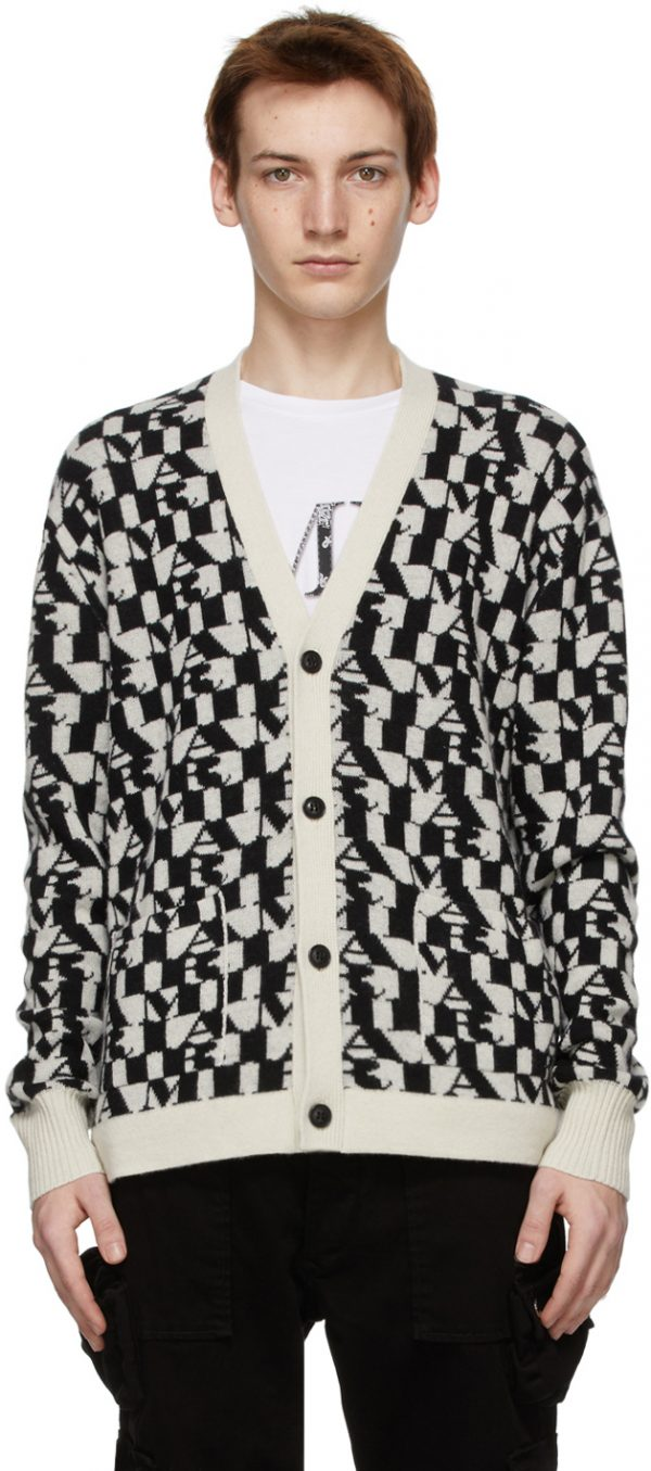 AMIRI Black & Off-White All-Over Logo Cardigan