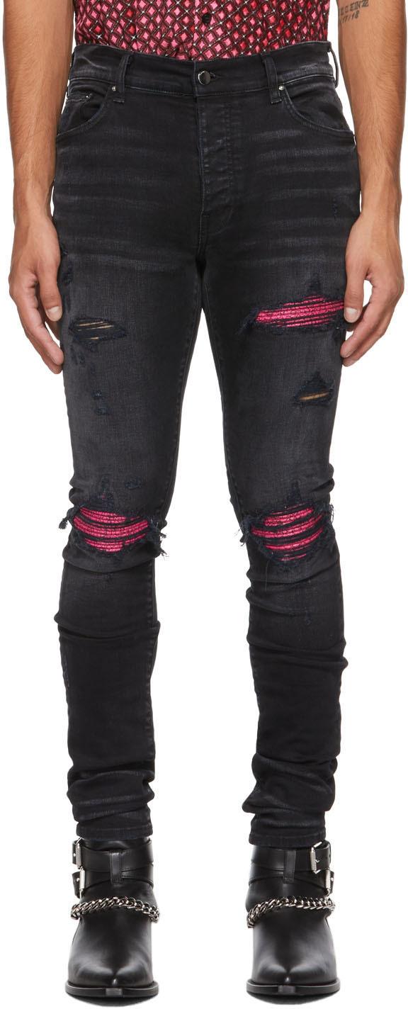 AMIRI Black & Pink Cracked Leather MX1 Jeans